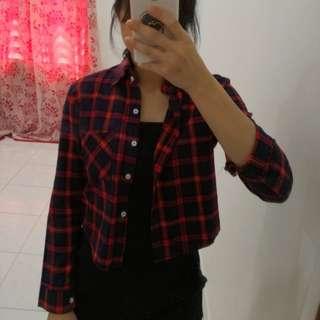 Red Flannel Crop Top