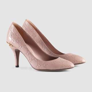 Guccisima Pink Leather Mid-Heel Pump Size 37.5