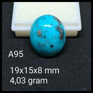 Batu Pirus Persia A95 Natural Pyrus Turquoise Akik