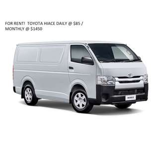 VAN RENTAL! TOYOTA HIACE FOR RENT