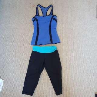 blockout sport blue gym tank and capri set