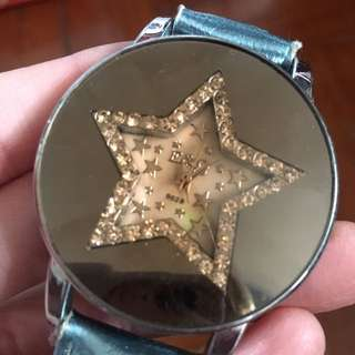 Blingbling blue star watch