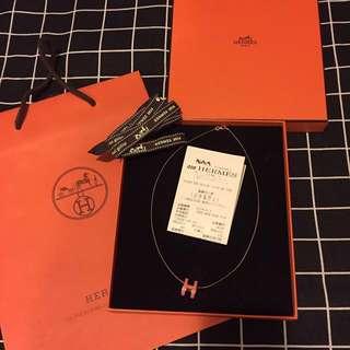 Hermes 桃紅色 x 玫瑰金色經典款 頸鏈 Necklace 有盒 有單 Full set