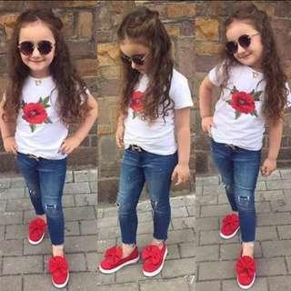Baby Girl Rose Flower Printed Short Sleeves T-shirt 🍀