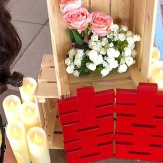 [Instock] Double Xi happiness red wooden blocks pws photobooth decoration