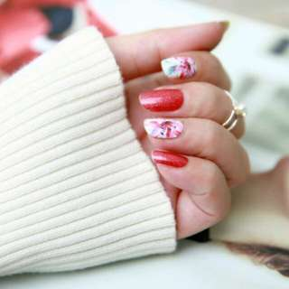 Floral with Glitter Nail Stickers