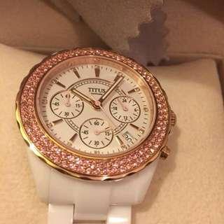 Solvil et Titus limited edition watch 白色陶瓷錶帶限量特別絕版粉紅色閃石手錶
