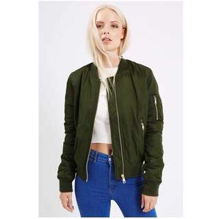 Topshop Bruce MA1 Syle Bomber Jacket in Olive Green