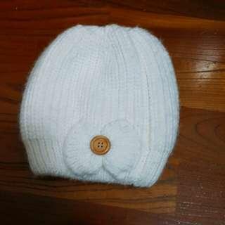 【二手】純白氣質內鋪毛毛帽(台灣製)