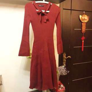 Made in Korea Burgundy Ribbon Knitted One Piece Dress