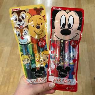 RARE Disney Japan Sarasa Clip Pen Sets!!