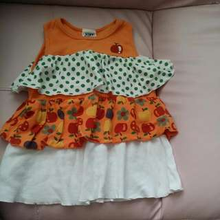 BABY CLOTHES MINT SUGAR! LAYER APPLES DRESS/TOP FOR 2-3YEARS.