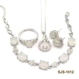 【情人節禮物】白冰翡翠鋯石吊墜耳環頸鏈首飾套裝