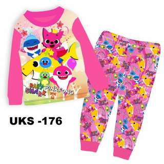 Baby Shark Pink 176 Long Sleeve Pyjamas For (2 Yrs To 7 Yrs)
