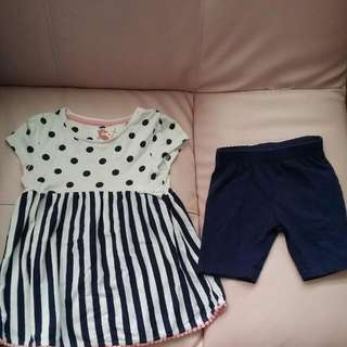 BABY CLOTHES {1 SET-$3} TU SEAHORSE DRESS WITH TIGHT SHORT FOR 2-3YEARS.