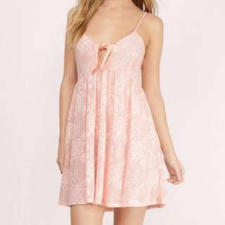 TOBI Wander Off Lace Dress in Blush