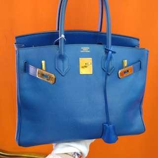 Hermes birkin 30 epsom france blue