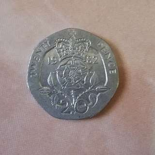 1982 20pence British coin