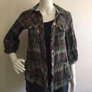 AI FASHION green checkered topper/polo/blouse small