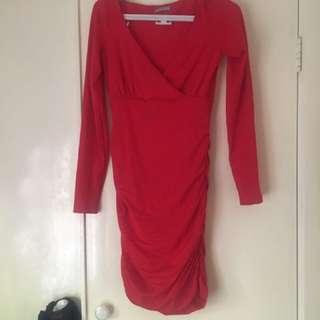 Kookai long sleeve red dress