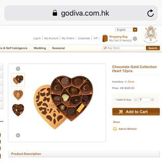 Redemption letter at Godiva Shop for 12 piece chocolate heart box