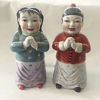 Vintage CNY Gong Xi Fa Cai Boy and Girl Porcelain Doll Statue Set