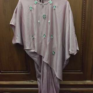 Satin dress (short kaftan) dusty pink