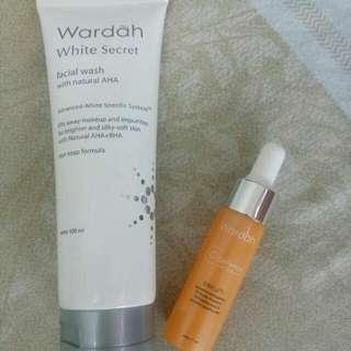 Wardah White Secret Facial Wash and Wardah C-Defense Serum