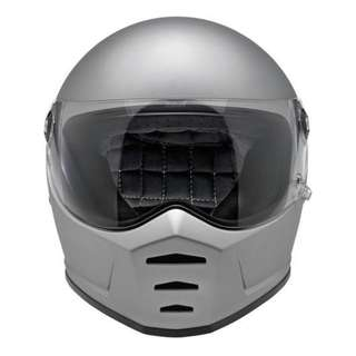 Biltwell Lane Splitter Solid Full Face Motorcycle Motorbike Helmet - FLAT MATTE SILVER SIZE LARGE ONLY Cafe Racer Helmet Rare in Singapore The Stig Top Gear Racing Helmet