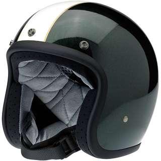 Biltwell Bonanza Le Racer Helmet Gloss Green Cream, X-Large XL ONLY Cafe Racer Motorbike Motorcycle Helmet British Racing Green