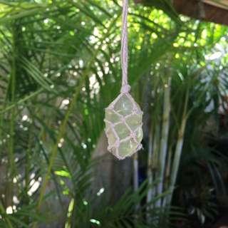Handmade Boho Green Jade Like Crystal Necklace