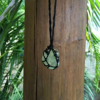 Handmade Macrame Rope  Boho Jade Like Stone Necklace