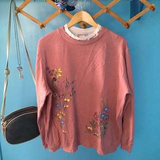 Pink long sleeves with floral print