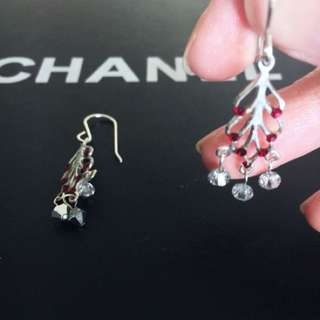 925 Sterling silver drop feather leaf earrings with red Swarovski crystals hand made