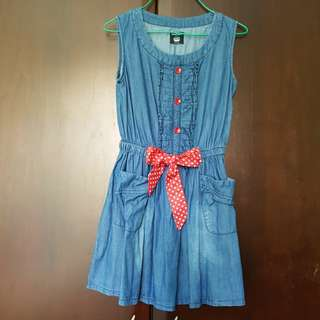 Cute Denim Dress With Ribbon