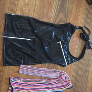 Leather dress & rainbow dress