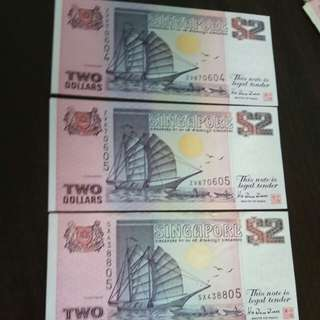 Ship Series Notes 2,singapore old notes 604,605,805