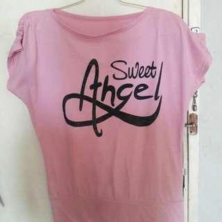 Preloved Kaos Pink Angel Fit to L gede Mat Kaos