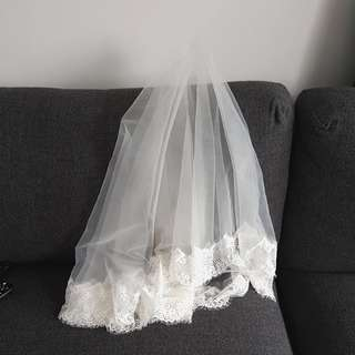 Handmade soft tulle French lace bridal veil