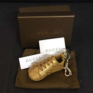Gucci gold leather shoe key ring