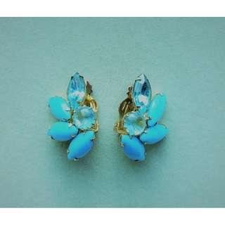 1960s Teal Flower-like Clip-on Earrings