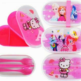 1 Set Peralatan Kotak Makan Bekal Hello Kitty Frozen Little Pony