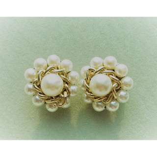 1960s Vintage White Faux Pearls Earrings. Marked with JAPAN