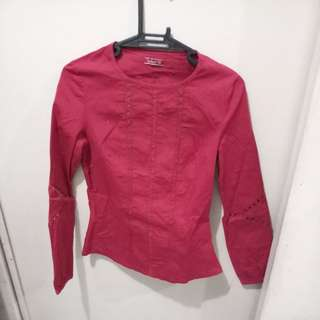Red Stretched Long Sleeves -FREE SHIPING