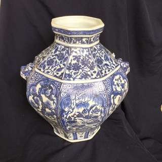 Yuan dynasty Cobalt Somali blue underglazed n White jar decorated with love birds bamboo n pine trees . TOP layer are painted with linked lotus . Authentic n rare Yuen jar with fine artwork. Asking  S$1mil . Highest offer secured .