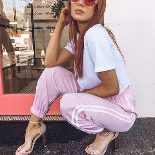 Satin Pink Tracksuit Pants