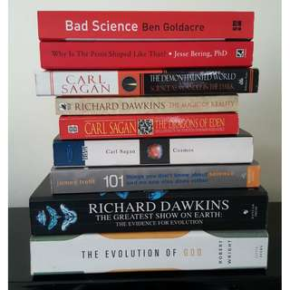 Assorted books from Dawkins to Sagan
