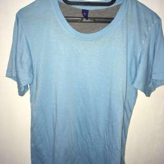 kaos oblong biru unisex, t-shirt katun