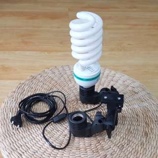 Dual e27 bulb light holder light stand with umbrella bracket