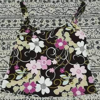 Brown Floral Tankini